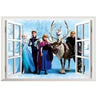Disney Frozen Muursticker - Raam met familie - 60 x 40 cm