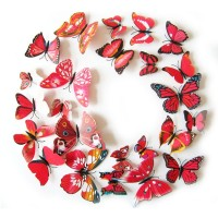 3D muursticker vlinders rood