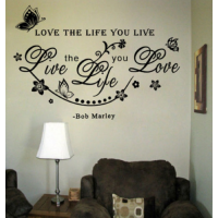 Black Bob Marley Quote Love The Life You Live vlinder sticker
