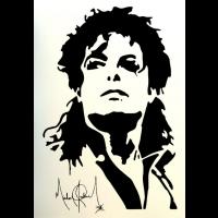 Michael Jackson sticker met handtekening