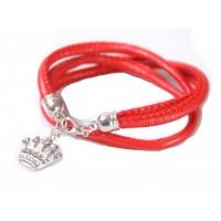 Tasjie Armband rood met bloem kroon en zirkonia