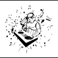 robot music dj sticker