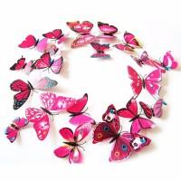 3D muursticker vlinders roze