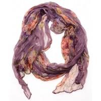 Tasjie sjaal paars met bloemen