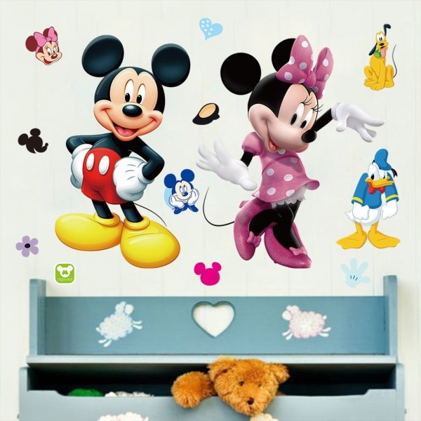 disney muursticker mickey en minnie 70 x 50 cm. Black Bedroom Furniture Sets. Home Design Ideas